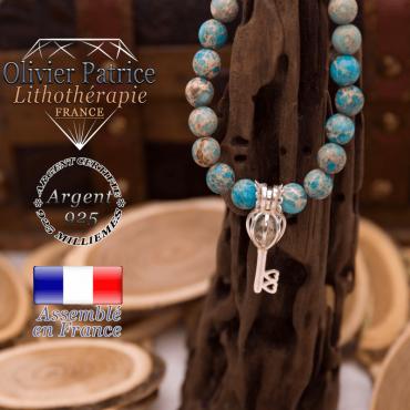Bracelet jaspe impérial bleu turquoise cage clé argent 925