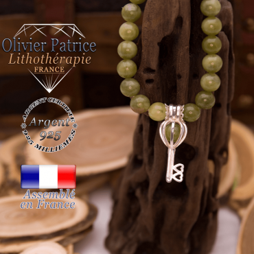 Bracelet jade néphrite du Canada cage clé argent 925