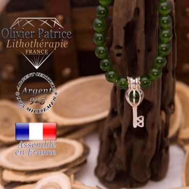 Bracelet jade de Taiwan cage clef argent 925