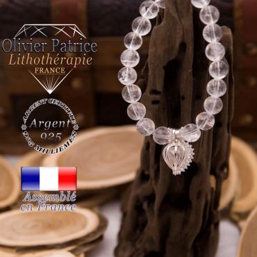 Bracelet cristal de roche et sa cage strass en argent 925