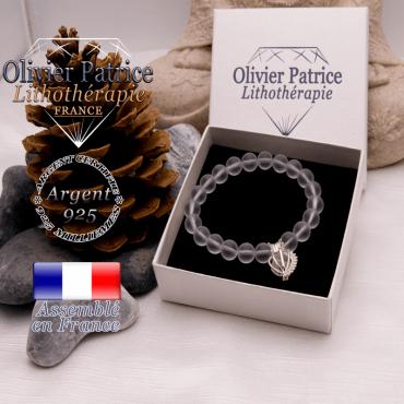 Bracelet cristal de roche opaque et sa cage strass en argent 925