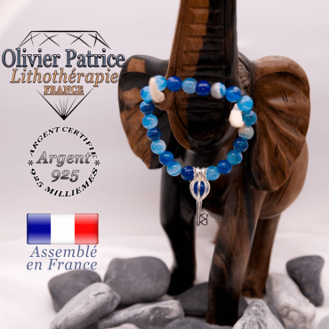 Bracelet agate à bandes bleues et sa cage clé en argent 925
