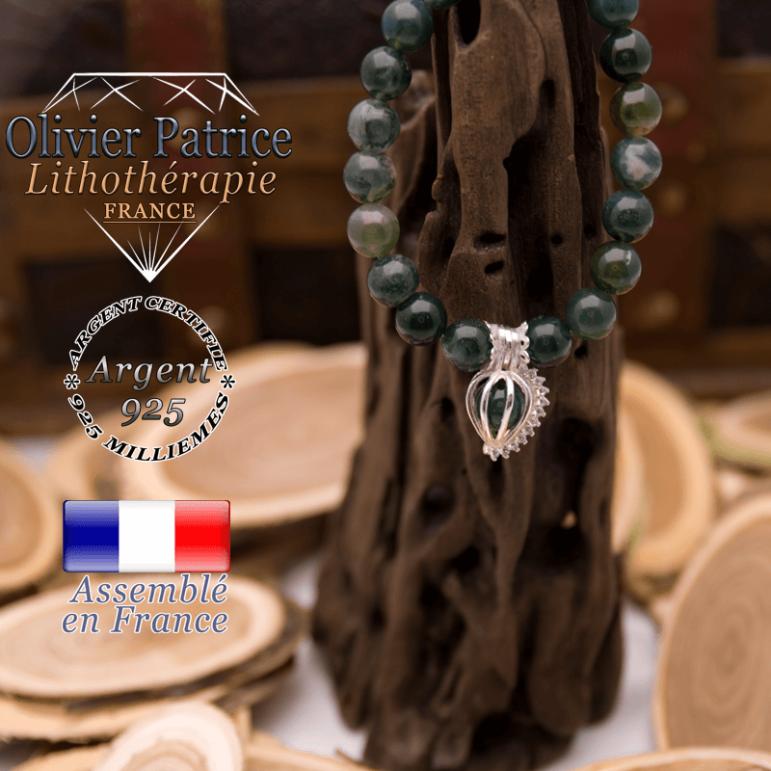Bracelet agate mousse et sa cage strass en argent 925