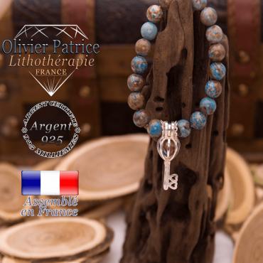 Bracelet agate à dentelle bleue cage clé argent 925