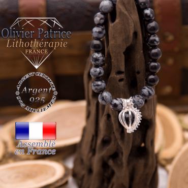 Bracelet obsidienne neige et sa cage strass en argent 925