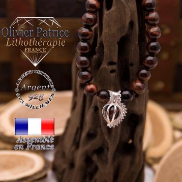 Bracelet Œil de taureau et sa cage strass en argent 925