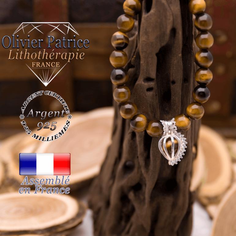Bracelet Œil de Tigre et sa cage strass en argent 925