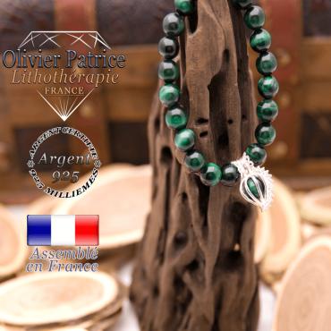 Bracelet Œil de Tigre teinte verte et sa cage strass en argent 925