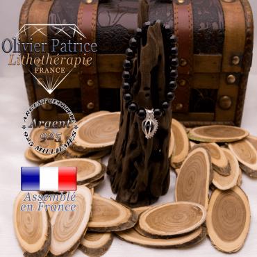 Bracelet onyx et sa cage strass en argent 925