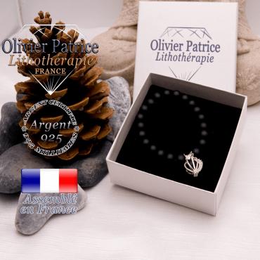 Bracelet onyx mat et sa cage strass en argent 925