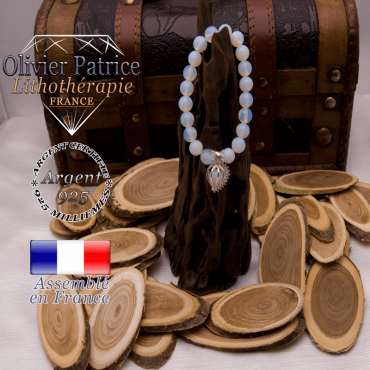 Bracelet opale et sa cage strass en argent 925