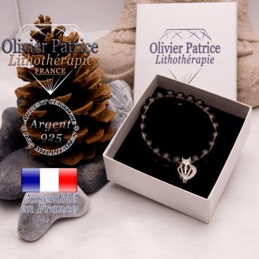Bracelet quartz fumé et sa cage strass en argent 925