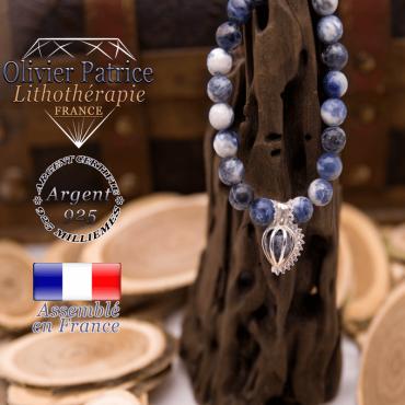 Bracelet sodalite et sa cage strass en argent 925