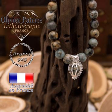 Bracelet turquoise bleue africaine et sa cage strass en argent 925