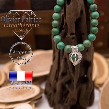 Bracelet turquoise du Tibet et sa cage strass en argent 925