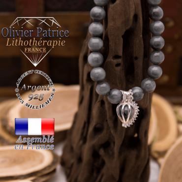 Bracelet pierre d'aigle et cage strass argent 925
