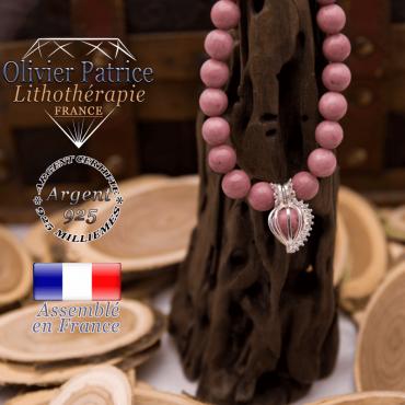 Bracelet rhodochrosite et cage strass argent 925