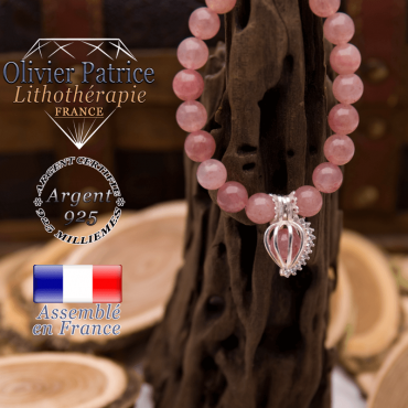 Bracelet quartz fraise et sa cage strass en argent 925
