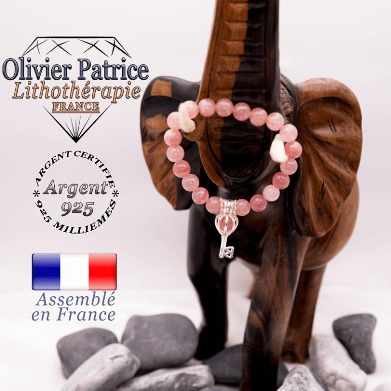 Bracelet quartz fraise et sa cage clé en argent 925