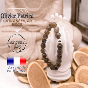 Bracelet de labradorite et boule argent 925 - 8 mm
