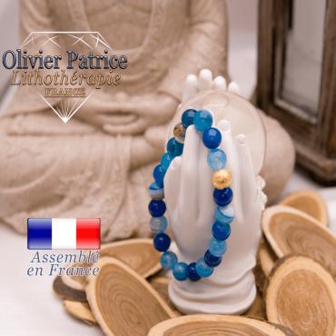 Bracelet en agate à bandes bleues et boule plaqué or