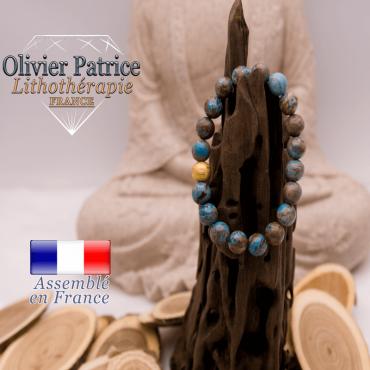 Bracelet agate à dentelle bleue et boule plaqué or