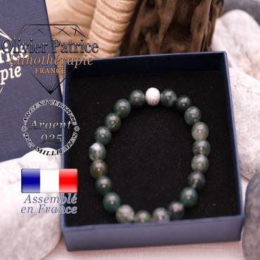 Bracelet agate mousse et sa boule brillante en argent 925