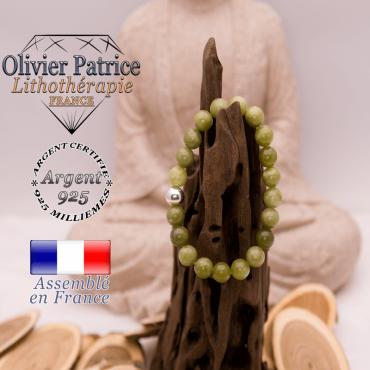 Bracelet jade néphrite du Canada boule en argent 925 - 8 mm