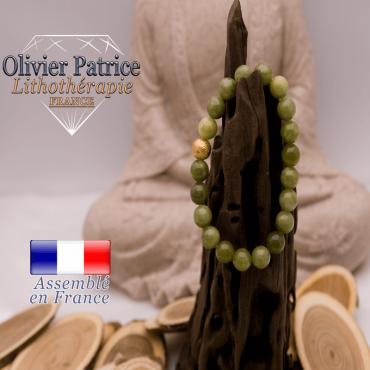 Bracelet jade néphrite du Canada boule plaqué or