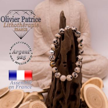 Bracelet jaspe dalmatien et boule en argent 925 - 8 mm
