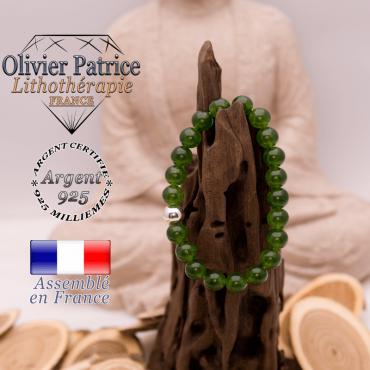 Bracelet jade de Taiwan et sa boule lisse en argent 925 - 8 mm