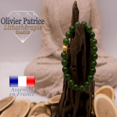 Bracelet jade de Taiwan et boule plaqué or