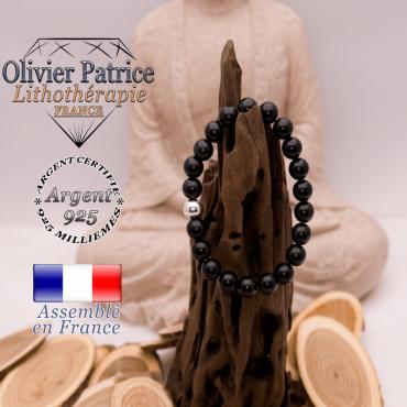 Bracelet obsidienne œil céleste et boule argent 925 - 8 mm