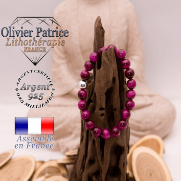 Bracelet Œil de Tigre teinte violette boule argent 925 - 8 mm