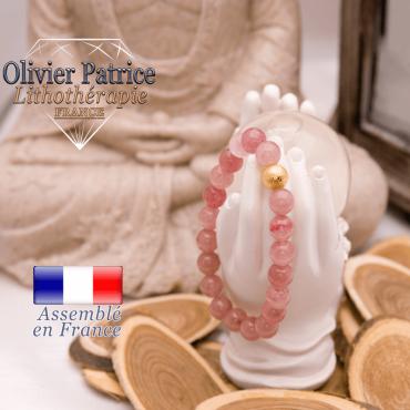 Bracelet quartz fraise et boule plaqué or