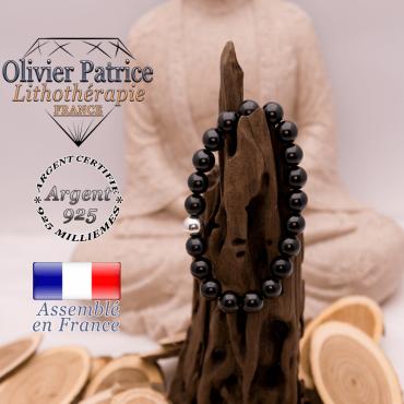 Bracelet tourmaline noire et boule lisse argent 925 - 8 mm