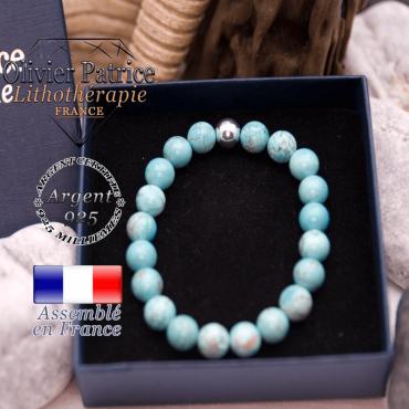Bracelet turquoise et sa boule lisse en argent 925 dans son écrin
