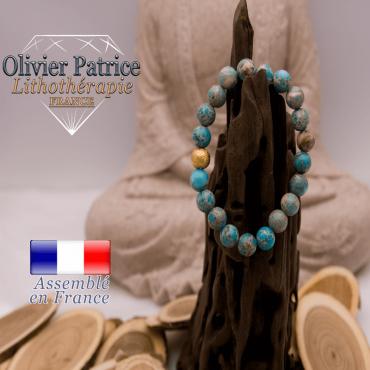 Bracelet jaspe impérial bleu et boule plaqué or
