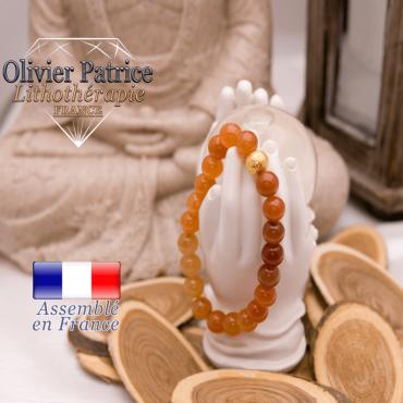 Bracelet en aventurine orange et sa boule plaqué or