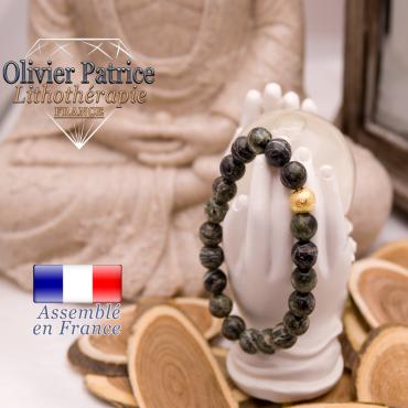 Bracelet jaspe vert zèbre et sa boule plaqué or