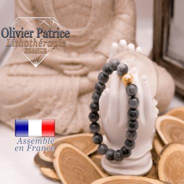 Bracelet pierre d'aigle et sa boule  plaqué or