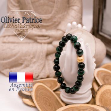 Bracelet Œil de Tigre teinte verte et boule plaqué or
