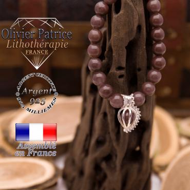 Bracelet de quartz raisin et cage strass argent 925