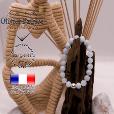 Bracelet en amazonite d'Asie et boule argent 925 - 8 mm