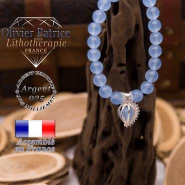 Bracelet agate bleue cage strass en argent 925