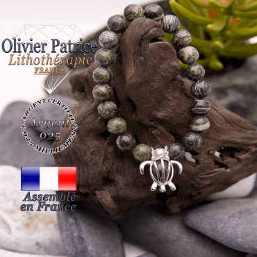 Bracelet jaspe zèbre vert cage tortue argent 925