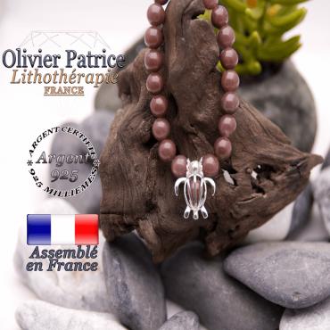 Bracelet de quartz vin et cage tortue argent 925
