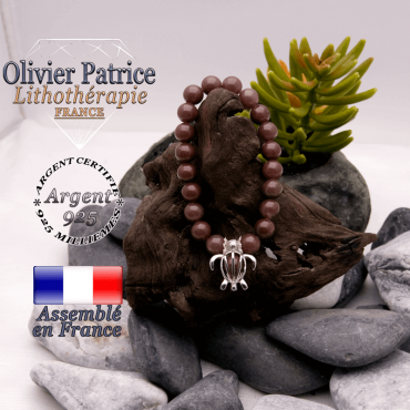Bracelet de quartz raisin et cage tortue argent 925
