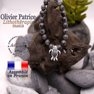Bracelet larvikite cage tortue en argent 925