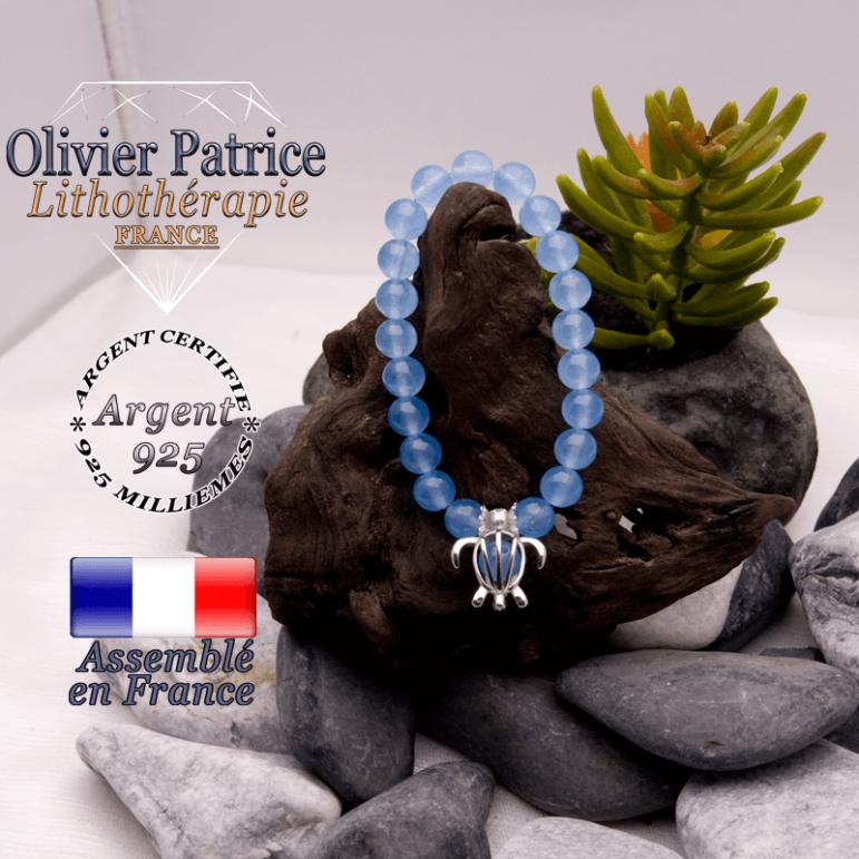Bracelet agate bleue cage tortue argent 925
